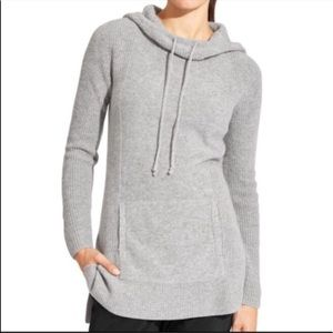Athleta Grey Merino Wool Pull Over Hoodie Sweater